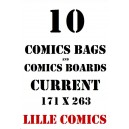 CURRENT 10 COMICS BAGS AND 10 COMICS BOARDS.