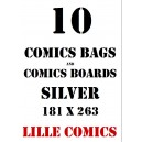 SILVER 10 COMICS BAGS AND 10 COMICS BOARDS.