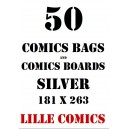 SILVER 50 COMICS BAGS AND 50 COMICS BOARDS.