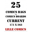 CURRENT 25 COMICS BAGS AND 25 COMICS BOARDS.