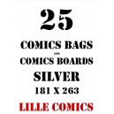 SILVER 25 COMICS BAGS AND 25 COMICS BOARDS.