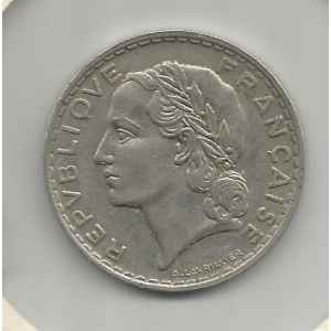 5 FRANCS 1933. LAVRILLIER NICKEL. LILLE COLLECTIONS.
