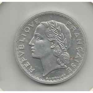 5 FRANCS 1950 B. LAVRILLIER ALUMINIUM. LILLE COLLECTIONS.
